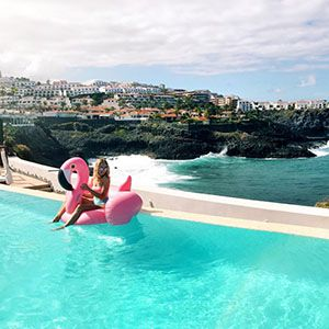 Infinity pool at a hotel with a Staycation